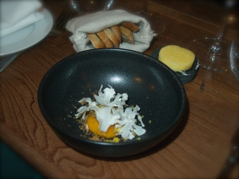 Truffled egg yolk, cauliflower, crispy chicken skin