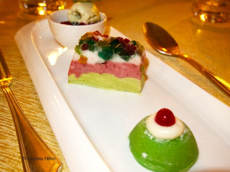 cassata, a ricotta and marzipan desert with dried fruits served here with pistachio parfait
