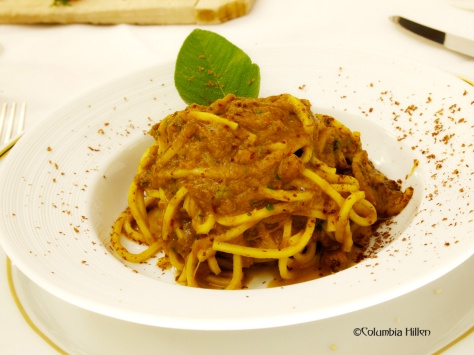 But don't bite yet into that tart before you taste this Marsala-flavored, Tagliolini pasta with rabbit and Modica chocolate - creation of Chef of Don Eusebio Restaurant, Eremo della Giubiliana