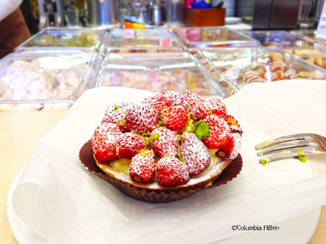 Wild strawberries, ricotta and pistachio, all in a tart - I could not imagine a more Sicilian desert